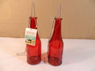 2 New Patio Essentials Red Glass Outdoor Lanterns