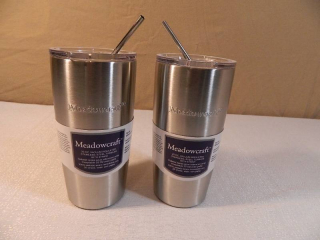 2 New Stainless Steel Tumblers with Metal Straws