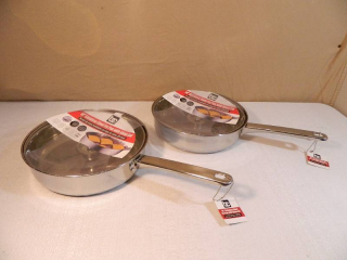 2 New Fry Pans with Lids