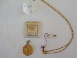 1852 $1 Gold Piece and 1901 $5 Gold...