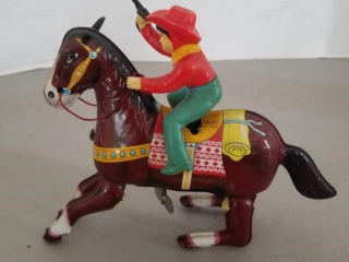 Vintage Wind Up Cowboy & Jumping Horse by