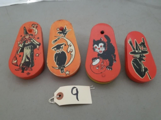 (4) Vintage Tin Halloween Noise Makers