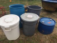 3 heavy duty garbage cans-blue food grade barrel- 1/2 barrel