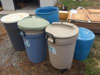 1 heavy duty garbage can- 2 rolling garbage cans- food grade barrel -1/2 barrel