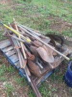 Lot of garden tools- shovels- sledgehammer- etc.
