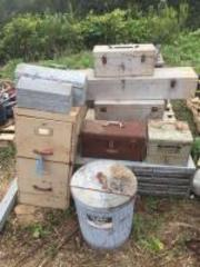 Large lot of galvanized tool boxes- garbage can- organizers- file cabinet- etc.