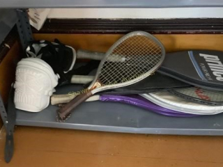 Shelf contents including kneepads and tennis