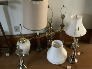 Lot of seven lamps and assorted shades location