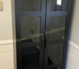 75 x 32 glass front mission style cabinet