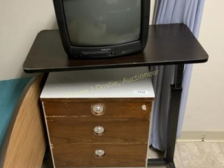13 inch TV hospital bed cart and three drawer