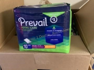 Lot of 10 packs of prevail underpads 10 count