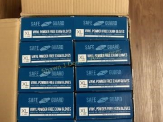 10 boxes of 100 vinyl powder free exam gloves
