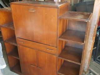 old wood cabinet w shelves