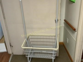 Metal laundry cart on wheels location laundry