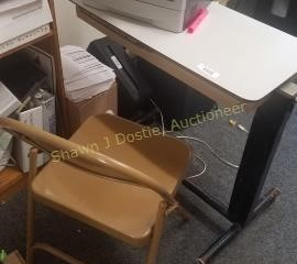 Hospital bed tray and folding metal chair office