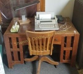 Vintage office desk, chair Smith Corona personal