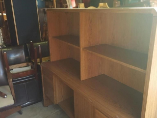 credenza with hutch, oak laminate