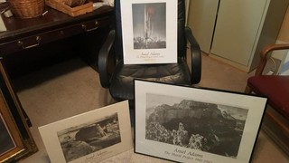 set of 3 ansel adams prints, 1 framed