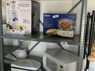 Shelf contents to include a power juicer and food