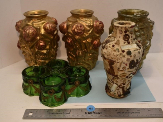 Four Vases and a Candle Holder