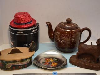 Misc. Items - Tea Pot, Wooden Trinket Box, Etc.