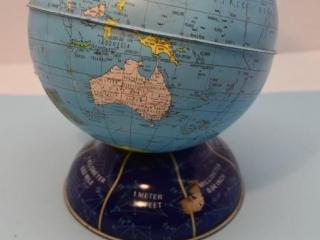 Tin World Globe Coin Bank - Has some dents