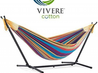 VIVERE COMBO DOUBLE HAMMOCK WITH STAND 9FT