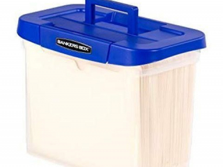 BANKERS BOX HEAVY DUTY PORTABLE PLASTIC FILE BOX