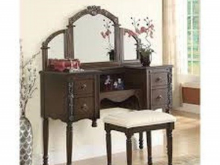 ACME FURNITURE VANITY TABLE AND STOOL