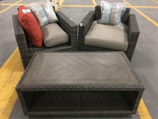 OUTDOOR PATIO FURNITURE 2 CHAIRS AND 1 (NO RETURN)