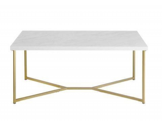 RECTANGLE COFFEE TABLE WITH WHITE FAUX-MARBLE