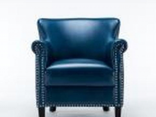 HOLLY NAVY BLUE FAUX LEATHER CLUB CHAIR