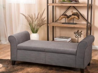 ROLLED ARM OTTOMAN/BENCH