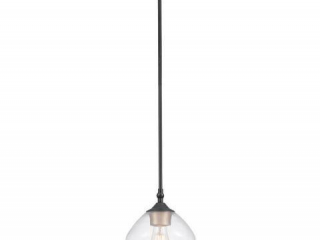 GLOBE ELECTRIC HARROW 1 LIGHT MATTE BLACK PENDANT