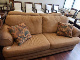 2 cushion sofa w/ 2 accent pillows