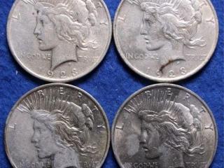 4 Silver Peace Dollars