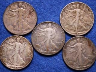 5 Silver Walking Liberty Half Dollars