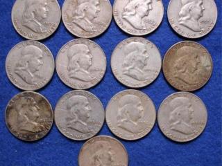 13 Franklin Silver Half Dollars