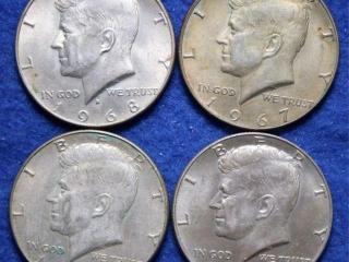 4 Kennedy Half Dollars