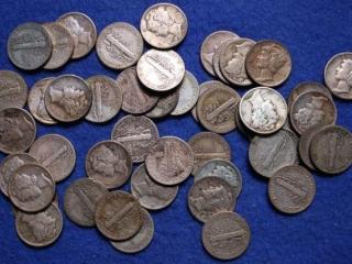 47 Silver Mercury Dimes