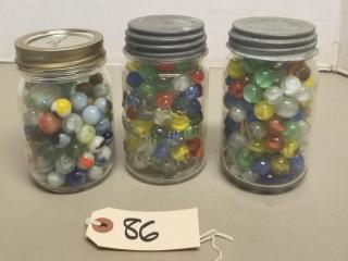 (3) Jars of Assorted Vintage Marbles