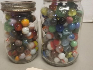 (2) Jars of Old Assorted Marbles