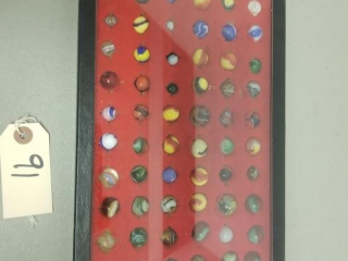 (72) Assorted Vintage Marbles In Shadow Box
