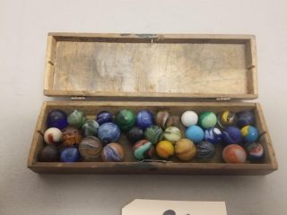 Vintage Marbles in Hinged Wooden Box
