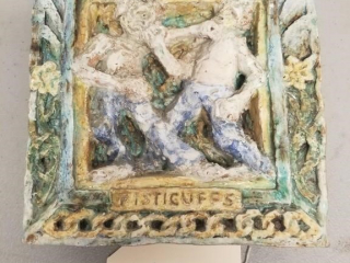 Early Wall Tile with Bare Knuckle Boxing Scene