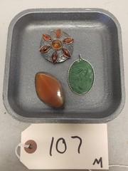 3 Gems in Sterling Silver