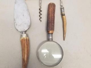 4 Vintage Antler Handle Tools