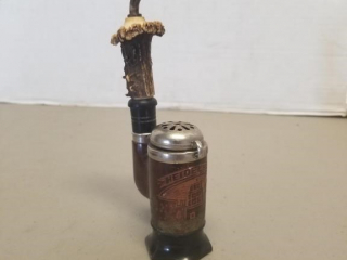 Early Carved Stag Horn German Tobacco Pipe