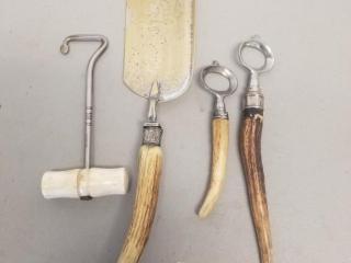 4 Vintage Antler Handled Tools