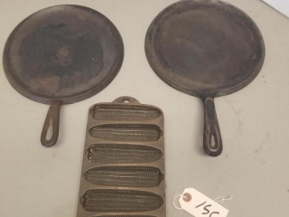 (3) Assorted Cast Iron Wagner Pans
